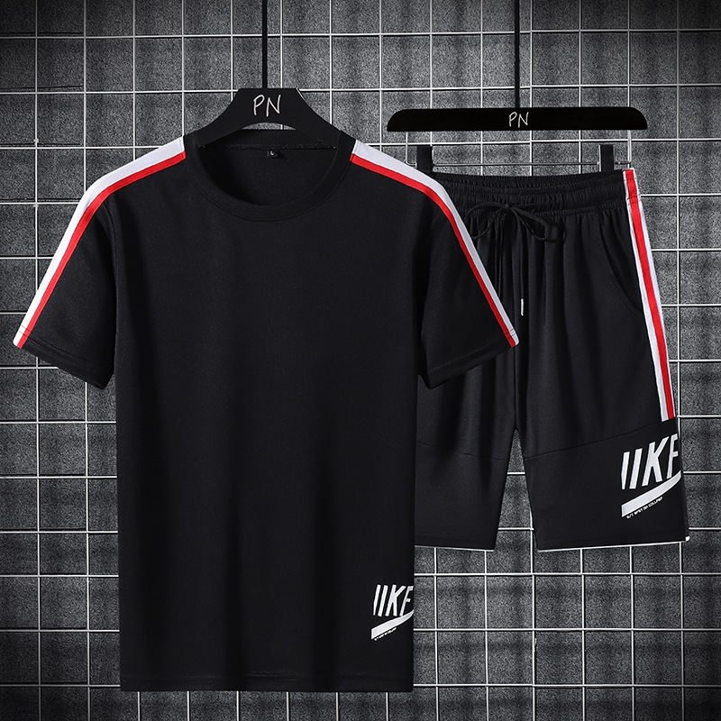 Men's Summer Casual Sportswear Sets + Short Sleeve T Shirt Men Beach Shorts Tee Male Tracksuits Elastic Waist Tracksuit Shorts