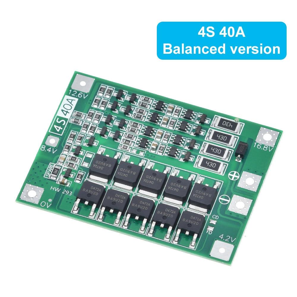 Защитная плата зарядного устройства литий-ионной батареи 3S 4S 40A 60A 18650 BMS для двигателя перфоратора 11,1 В 12,6 в/14,8 в 16,8 в с увеличителем баланса