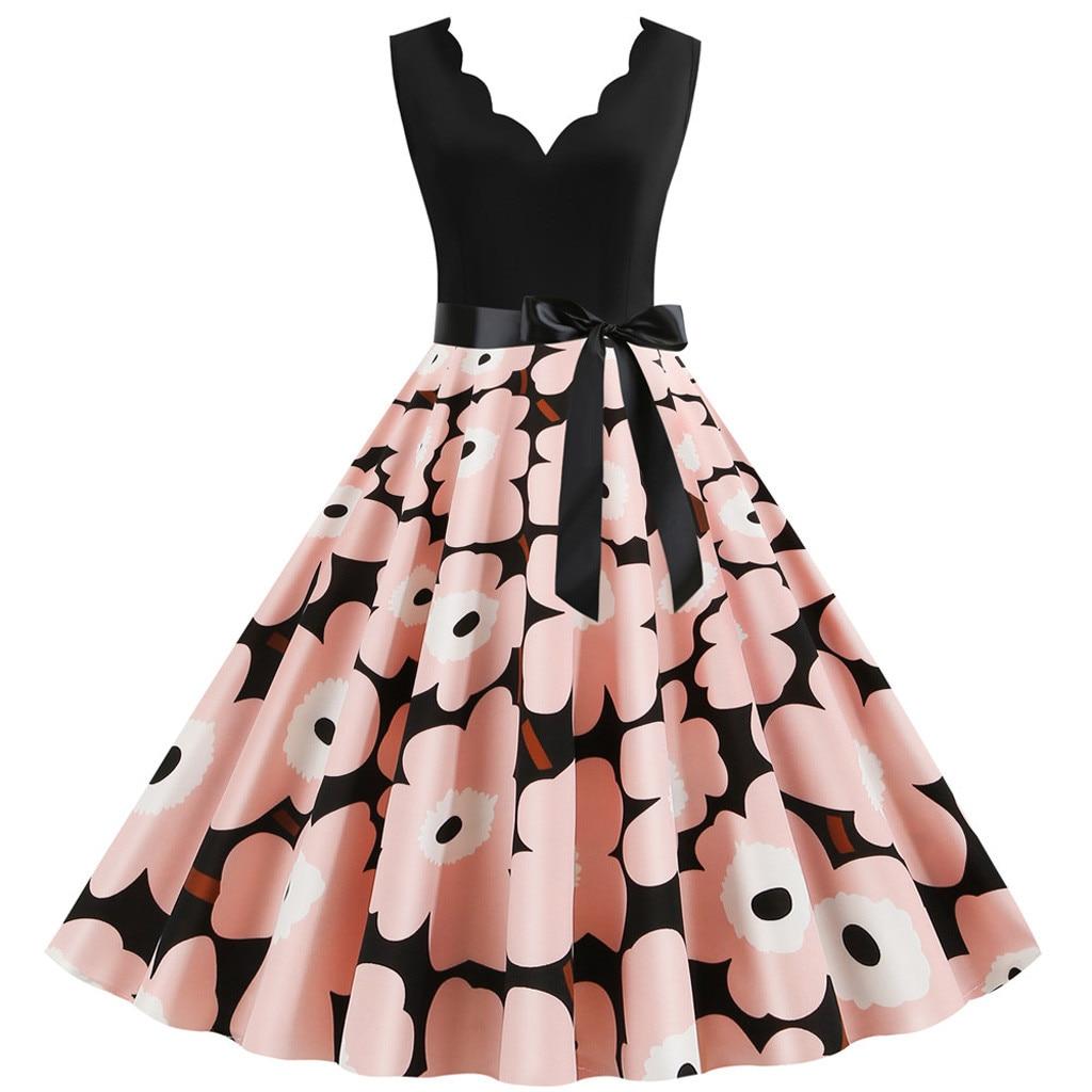 Elegant Vintage Dress Women Sleeveless Party Dresses Sexy V-neck Rockabilly Pin Up Party New Year Vestidos Plus Size 3xl#J30