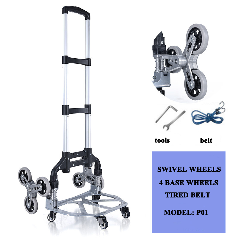 E-FOUR Stair Climbing Cart Heavy Duty Hand Truck Portable Folding Trolley For Upstairs Cargo Transportation Three-Wheels Thicken