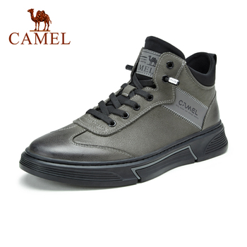 CAMEL 2020 Autumn New Genuine Leather Casual Men Shoes Fashion Mid-top Sneakers for Men Street Style Lace-up Male Shoes genuine leather top quality men leather shoes autumn lace up men s casual shoes outdoorluxury leisure men sneakers shoes