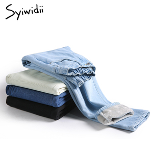 Syiwidii velvet jeans for women 2020 winter warm vintage streetwear Straight denim pants black blue beige fleece mom jeans women