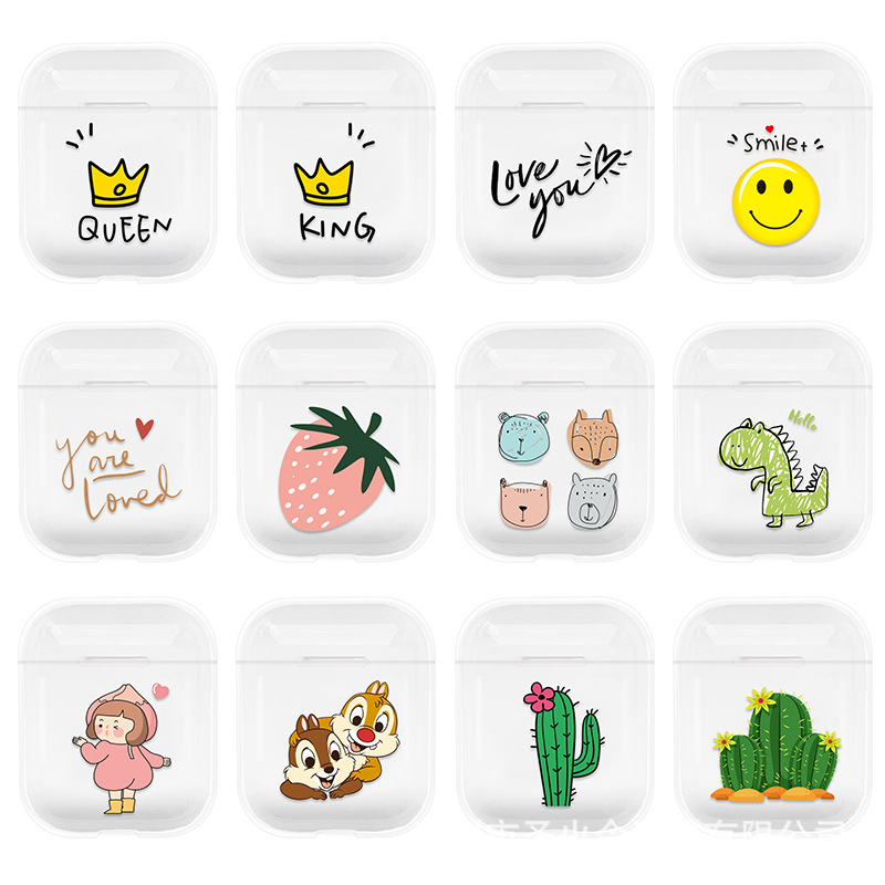 Cute Cartoon Transparent Carrying Earphone Case For Apple Airpods Skin Sleeve Pouch Box Wireless Headphone Protective Cover