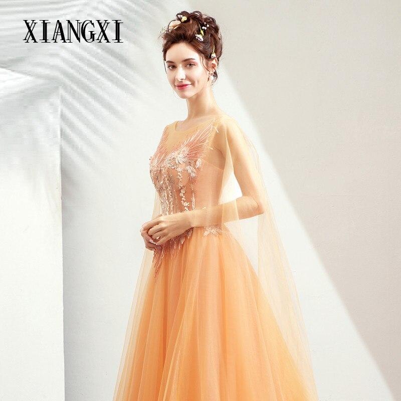 Robes De soirée Robe de soirée Orange Tulle a-ligne dentelle Appliques Robe De soirée longues robes formelles robes de soirée Robe De soirée
