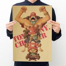 Room decoration anime One Piece Qiaoba poster art wall sticker retro kraft bar decoration painting