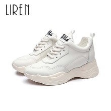 цена на Liren 2019 Spring/Autumn Women Casual Sneakers Genuine Leather Full Grain Leather Shallow High Heels Round Toe Lace-up Shoes