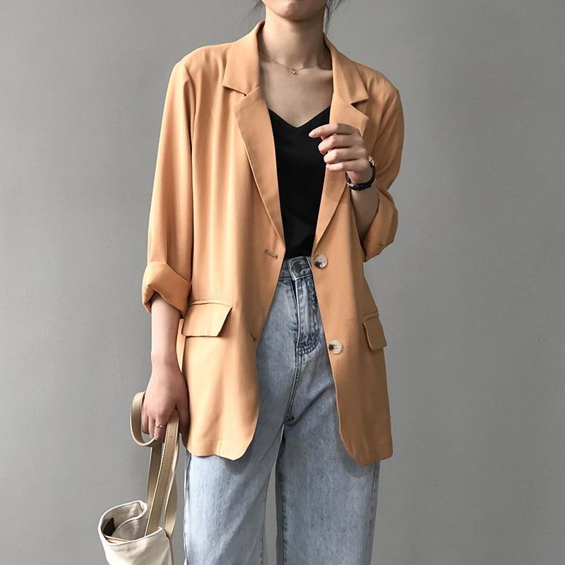 2020 New Women Summer Blazer Pure Color Thin Coat Turn Down Collar Women Spring White Coat Casaco Feminino Tops For Women