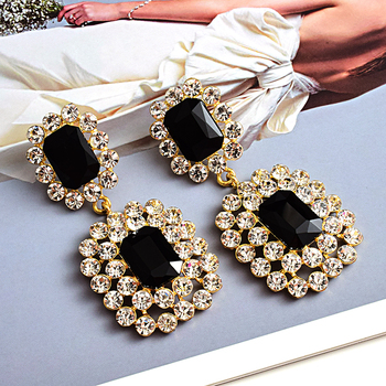 Luxury Crystals High-quality Stone Studded geometric Drop Earrings 4
