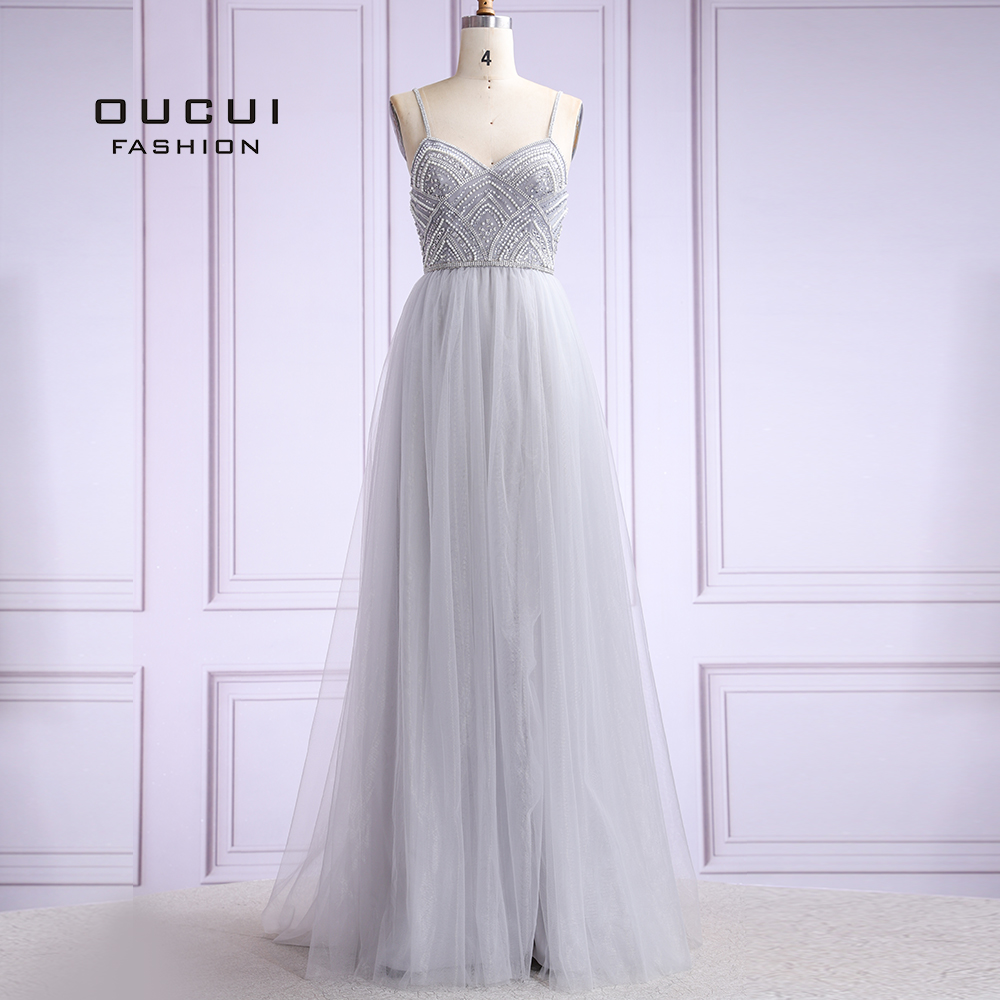 Tulle Women Plus Size Evening Dresses Long Party Dress 2019 Robe De Soiree Even Gown A-Line  Pearls Spaghetti Strap  OL103420