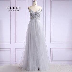 Image 1 - Vestido De noche largo De tul para mujer, De talla grande, con perlas, tirantes finos, OL103420, 2019