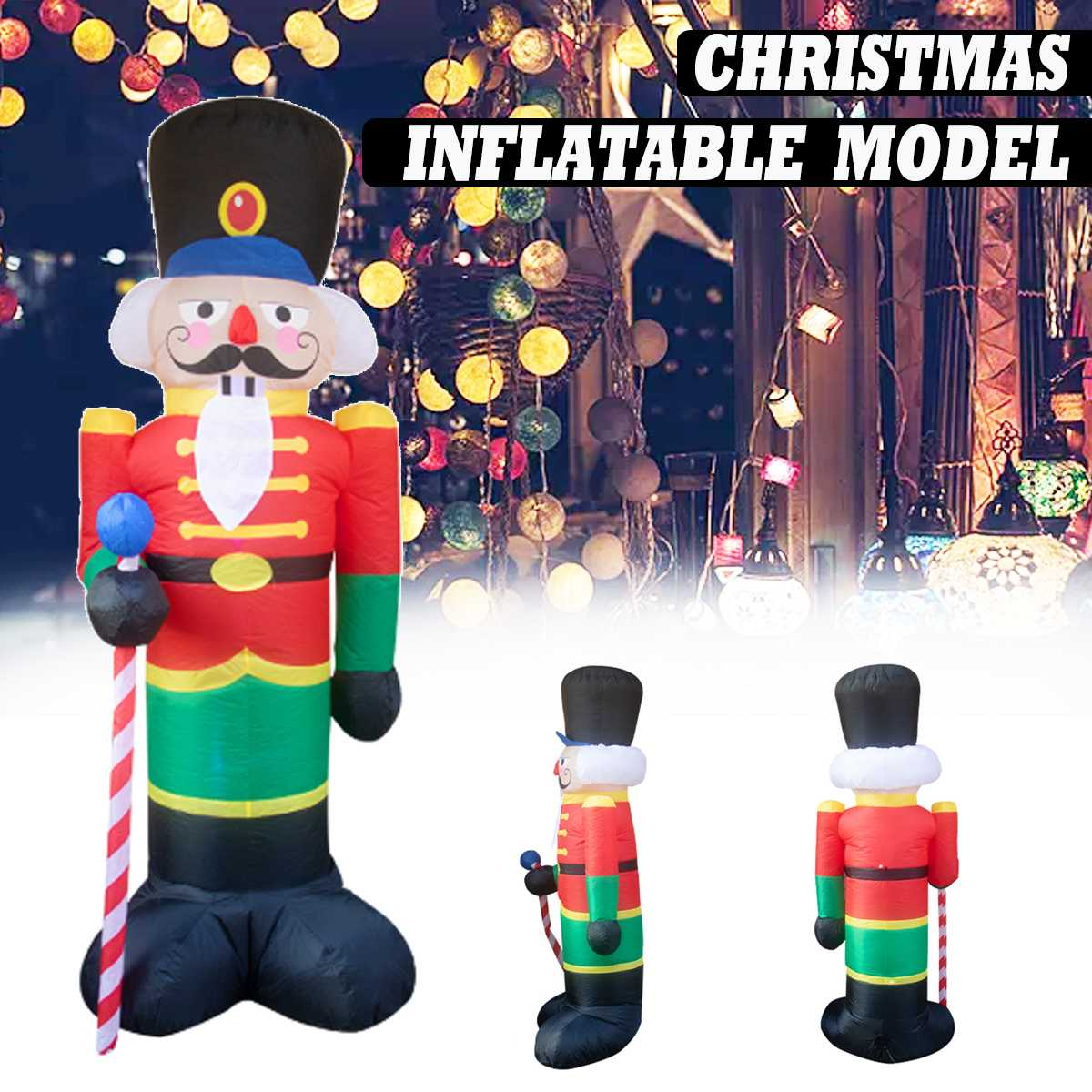2.4/1.8M Giant Santa Claus Mascot LED Lighted Inflatable Toys With Pump Christmas Halloween Party Props Yard Garden Deco Blow Up