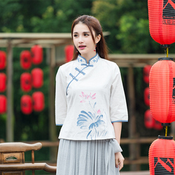 and Art Model Women's Wear Summer Chinese Style Xiaoli Collar Embroidery Printed Antique Top Ethnic Style Seven-Sleeve Shirt