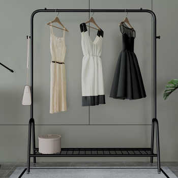 INS Style Double Pole Clothes Rack Floor Coat Rack Bedroom Drying Rack Simple Clothes Rail Moveable Indoor Clothing Rack Hanger