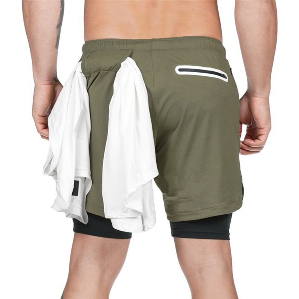 Men 2 in 1 Running Shorts Jogging Gym Fitness Training Quick Dry Beach Short Pants Male Summer Sports Workout Bottoms Clothing 22
