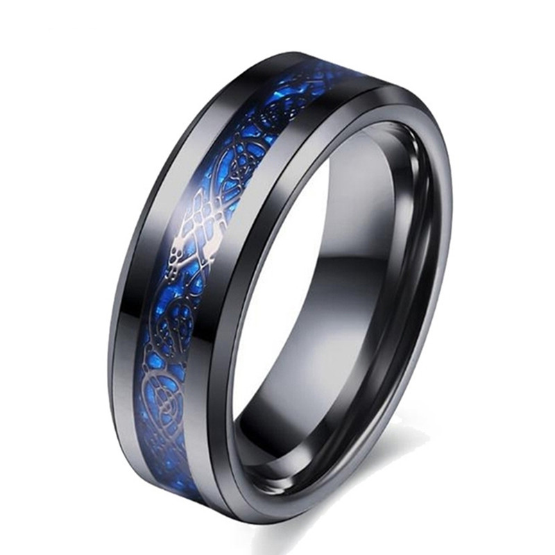 Fashion Man Ring 8MM Blue Carbon Fiber Dragon Design Black Stainless Steel Rings For Men Accessories Jewelry Wedding Band Ring
