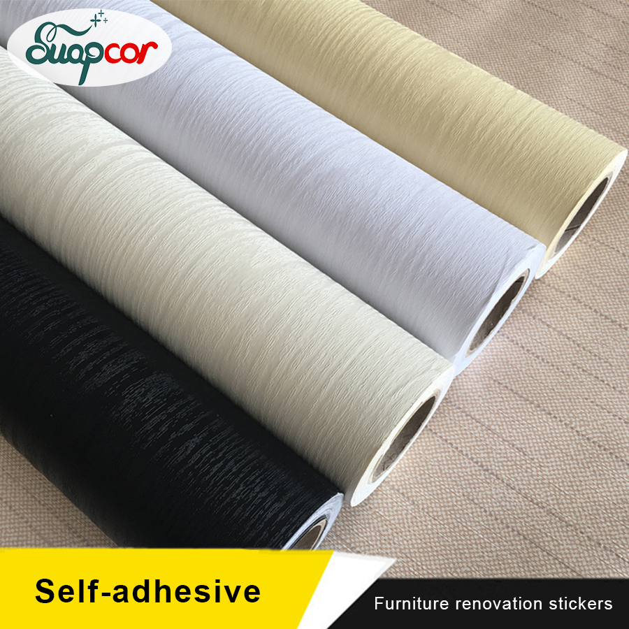 PVC Self Adhesive Wallpaper Furniture Renovation Stickers Waterproof Kitchen Cabinets Wardrobe Door Wood Decorative Boeing Film