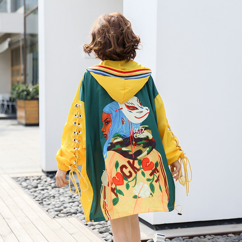 Lace Up 2019 Spring Autumn   Trench   Coats Women's Clothes Harajuku Mask Cartoon Pattern Windbreaker Coats Hooded Female SA065S30