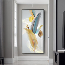 Nordic Abstract Colorful Feather Golden Yellow Deer Posters Canvas Painting Wall Art for Living Room Home Decor Cuadros