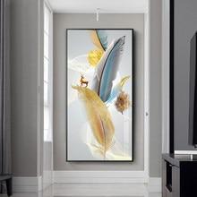 Nórdico abstrato colorido pena ouro amarelo veados posters pintura da lona arte parede para sala de estar decoração casa cuadros