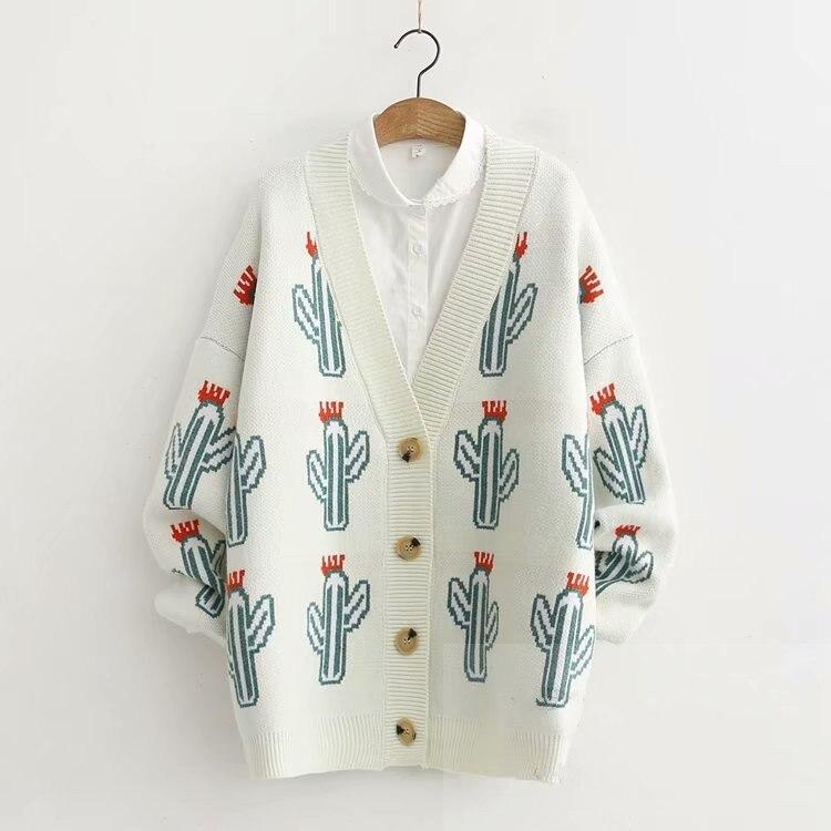 Cactus Cartoon Pattern Cartoon Loose V-neck Cardigan Sweater