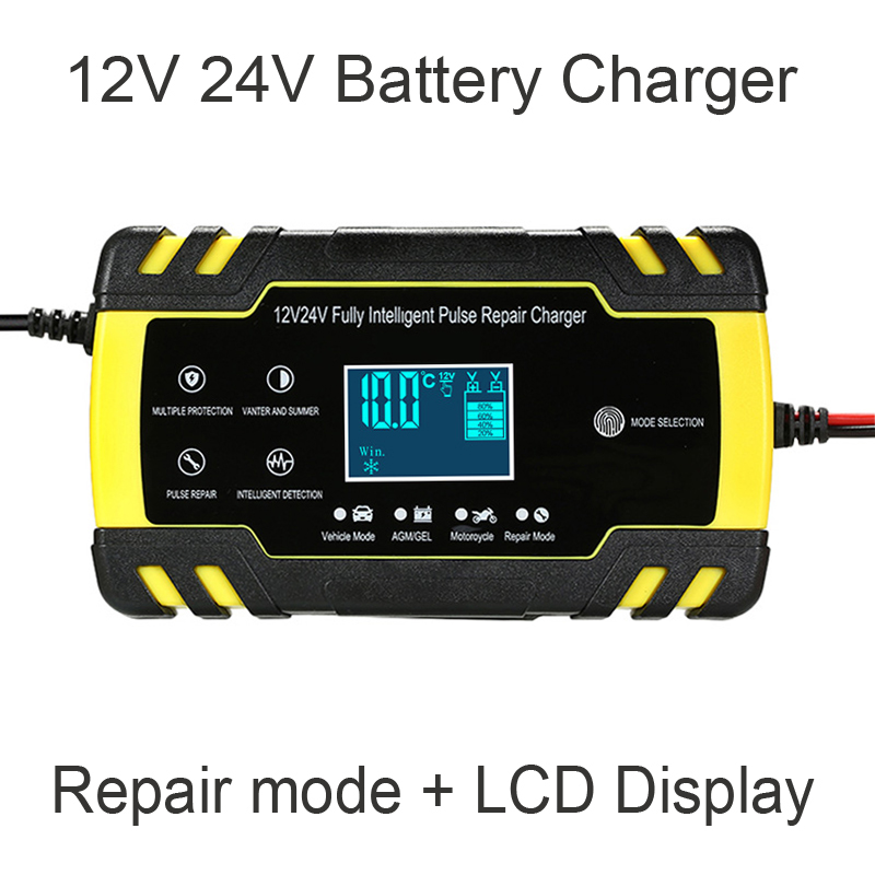 12V 24V Motorcycle Golf Car Battery Charger Maintainer & Desulfator Smart Battery Charger, Pulse Repair Battery Charger 1
