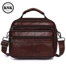 حقيبة ساعي بريد للرجال حقيبة جلدية أصلية حقيبة يد فاخرة حزام أكياس حقائب كتف للرجال 2019 الأزياء رفرف الذكور حقائب يد جلدية KSK