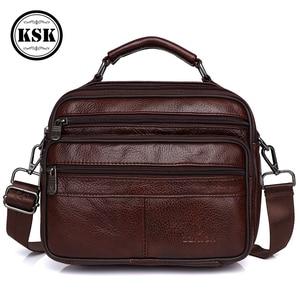 Image 1 - メッセンジャーバッグメンズ本革バッグ高級ハンドバッグベルトのための 2019 ファッションフラップ男性の革のハンドバッグ KSK