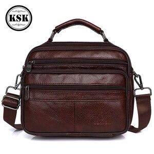 Image 1 - Messenger Bag Men Genuine Leather Bag Luxury Handbag Belt Bags Shoulder Bags For Men 2019 Fashion Flap Male Leather Handbags KSK