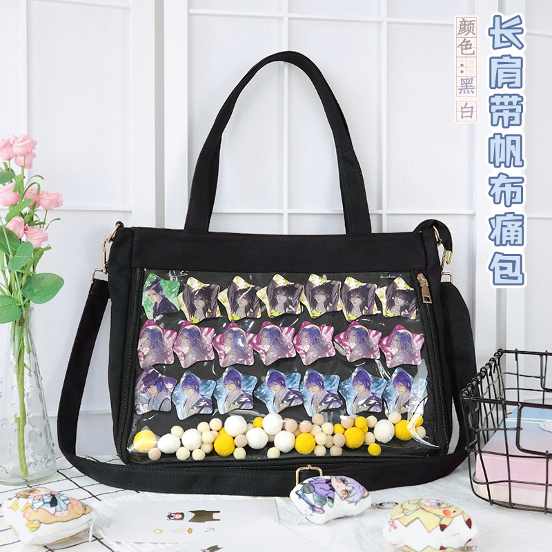 Comic Show Dolls Canvas Single Side Messenger Bag Sweet Lolita Transparent Clear Itabag Shoulders Bag Cosplay Handbag Ita Bag