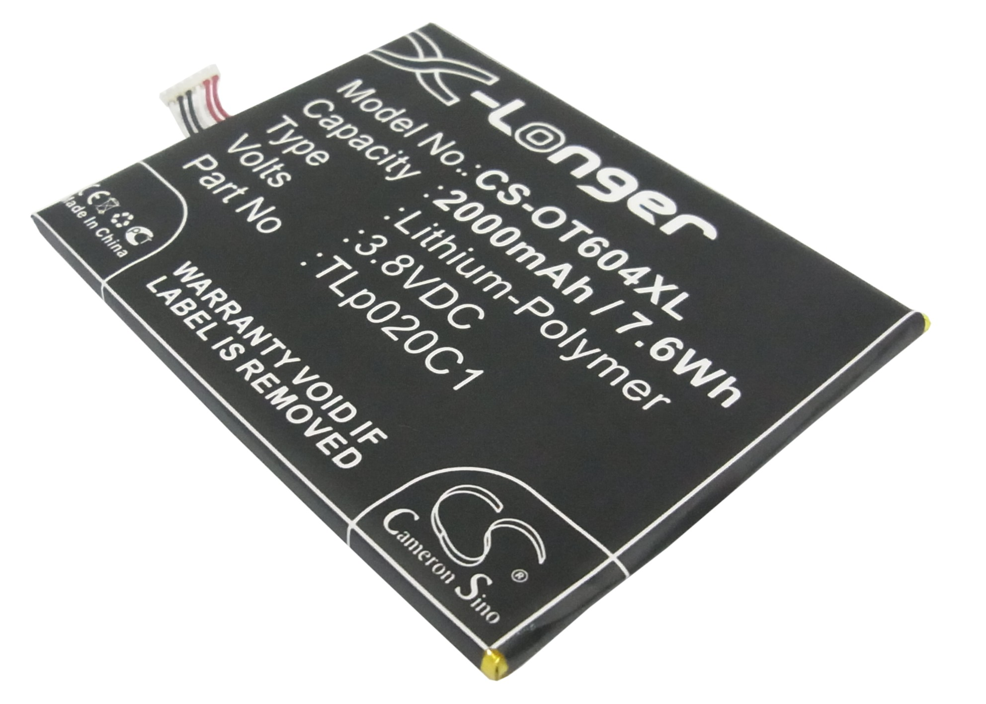 UPGRADE Cameron Sino Battery For <font><b>Alcatel</b></font> CAC2000012C2 OT-6034M,OT-6034R,OT-6034Y,OT-6035,OT-<font><b>6035R</b></font> 2000mAh / 7.60Wh image