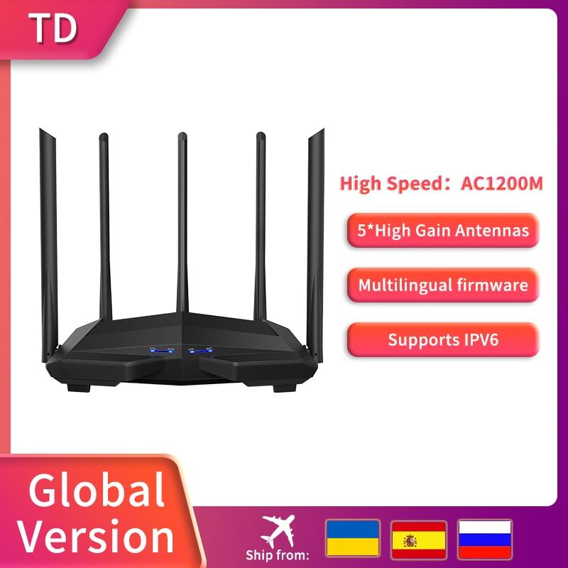 TD Digital Router AC11 Gigabit Version 2.4GHz 5GHz WiFi AC1200M With 5*6dBi High Gain Antennas Wider Coverage,Global Version 1