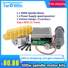 Spindle-Motor Speed-Governor 500W ER11 Chuck Power-Supply Engraving 52mm-Clamp Air-Cooled