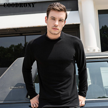 COODRONY Brand Long Sleeve T Shirt Men Knitted Cotton Tee Homme Bottoming Fashion Casual Stand Collar T-shirt C5006