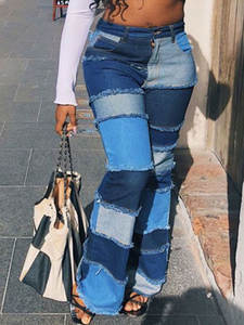 Liooil Flare-Jeans Jean-Pants Trousers Bell Pockets Color-Block Bottoms Streetwear Skinny