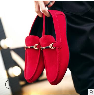 Red Mens Moccasins Loafers Suede Men Shoes Luxury Brand Soft Leather Shoes Mocassin Homme Mens Casual Slip On Driving Male Shoe