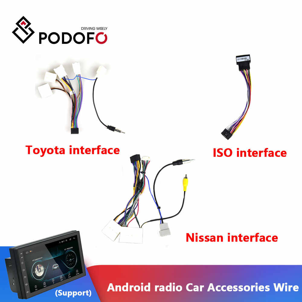 Podofo Android radio Auto Accessoires Wire Kabelboom Adapter Connector Plug Universele kabel Voor Focus Kia Nissian Toyota Auto