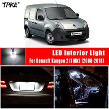 TPKE 9Pcs LED 번호판 램프 2008 2018 르노 Kangoo 2 II Mk2 자동차 LED 전구 인테리어 독서지도 돔 라이트 키트