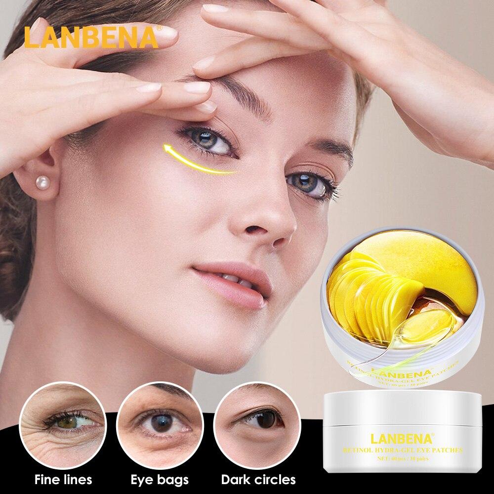 LANBENA Eye Mask Collagen Eye Patches Skin Care Gold Black Pearl Remove Puffy Eyes Retinol Anti Hyaluronic Acid Moisturizing