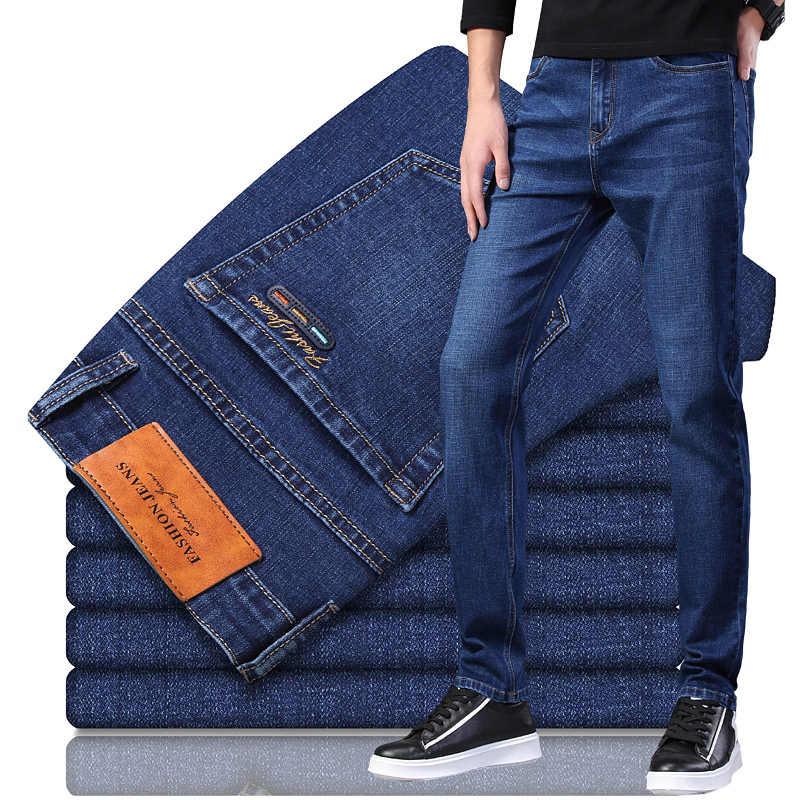 2021 Nuevo Otono Nuevo Estilo Clasico De Los Hombres Es Grey Jeans De Moda De Negocios Elastico Suave Pantalones De Mezclilla Hombre Marca Pantalones De Ajuste Negro Azul Pantalones Vaqueros Aliexpress