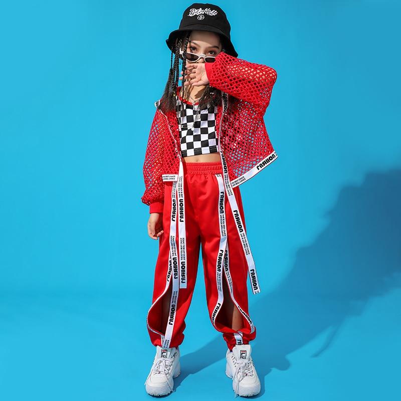 Red-Hip-Hop-Dance-Costume-Kids-Jazz-Dance-Clothing-Girls-Suit-Vest-Coat-Pant-New-Performance (2)