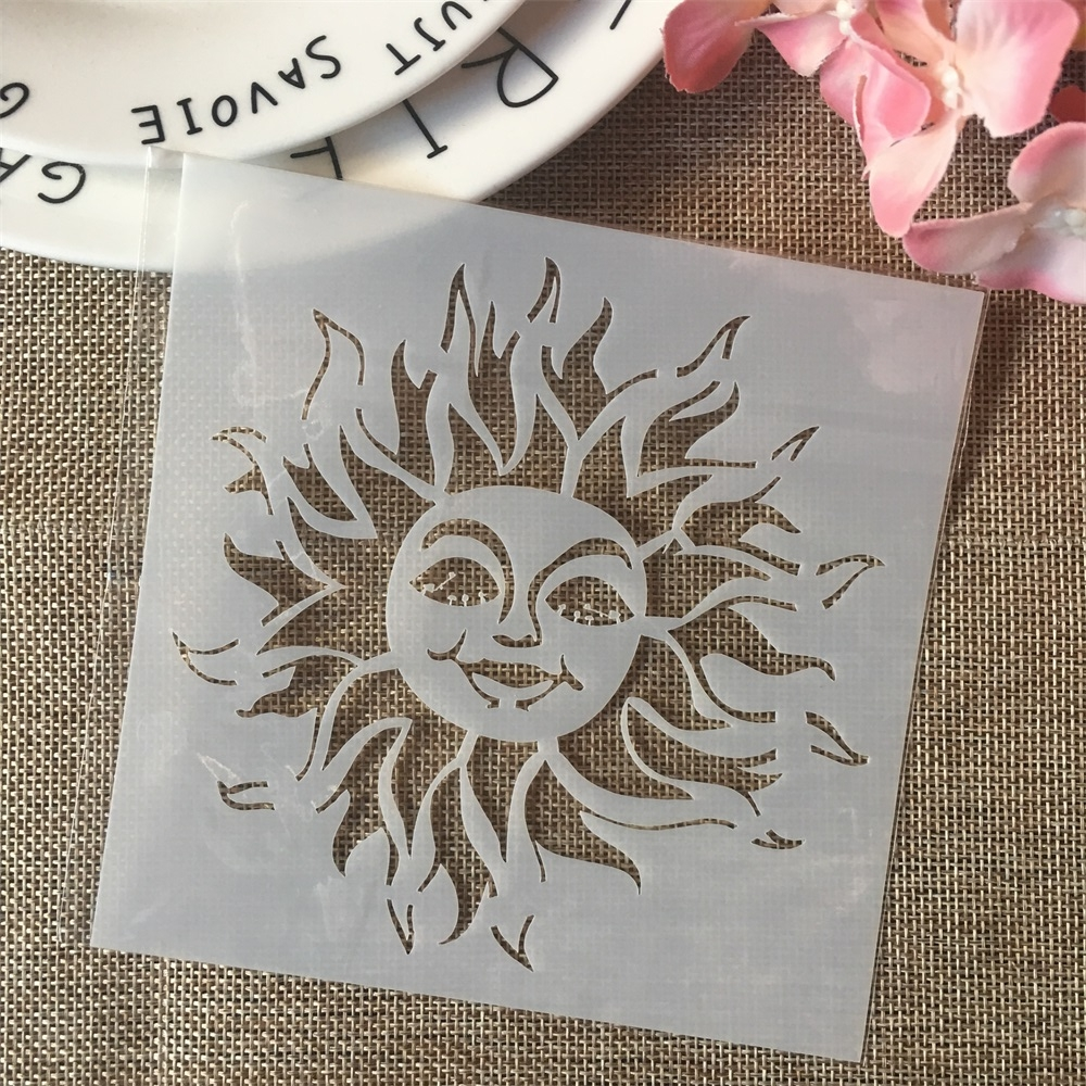 13cm Cartoon Sun DIY Layering Stencils Painting Scrapbook Coloring Embossing Album Decorative Card Template