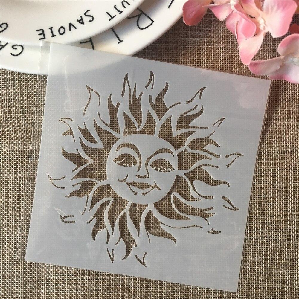 13cm Cartoon Sun DIY Layering Stencils Painting Scrapbook Coloring Embossing Album Decorative Card Template
