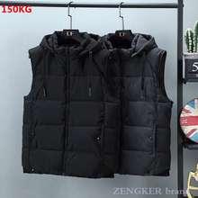 Autumn winter new cotton vest men's extra-large cotton waistcoat detachable cap keep warm vest men clothing streetwear vest