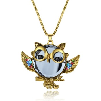 Trend Sapphire Gold Owl Sweater Chain Pendant Necklace Chain Necklace Personalized Clavicle Chain Unisex Jewelry Cute Accessory цена 2017