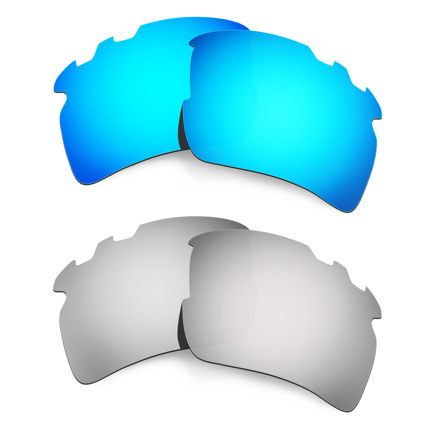 HKUCO For Flak 2.0 XL-Vented Sunglasses Polarized Replacement Lenses 2 Pairs Blue & Silver