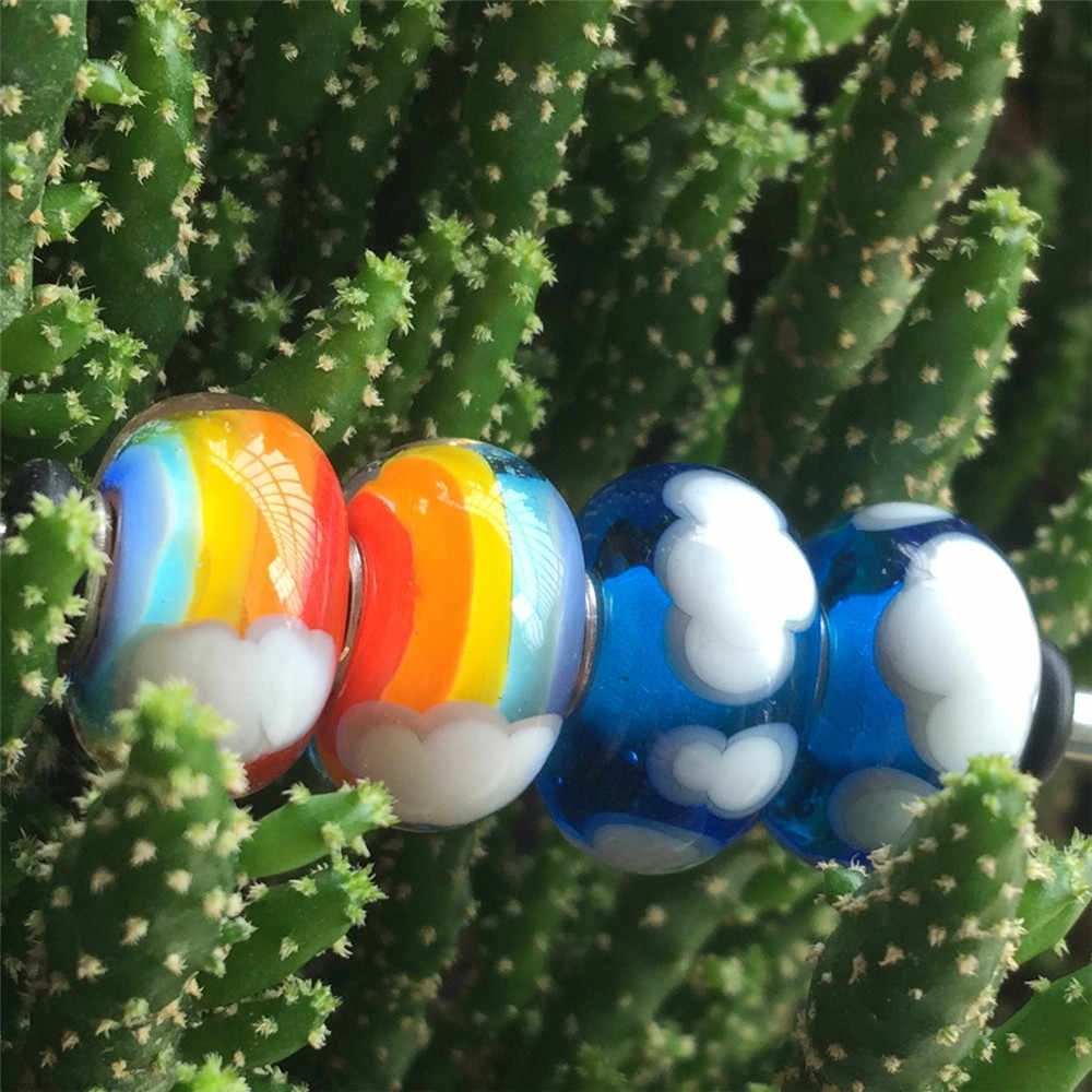 Mistletoe 925เงินสเตอร์ลิงMurano Glass Together Apart Blue SkyและWhite Clouds Charmลูกปัดยุโรปเครื่องประดับ