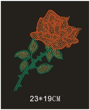2pc/lot  Red flower design stones sticker hot fix motif iron on crystal transfers rhinestone patch appliques