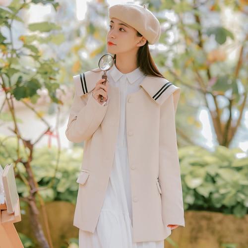 2019 Korean Blazer Elegant Women Vintage Blazers Preppy Style Loose Splice Pockets Button Women Coats Female White Black Blazers