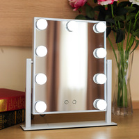 9 LED Makeup Vanity Mirror With Lights LED Lighted Square Vintage Table Cosmetic Magnification Light up Mirrors