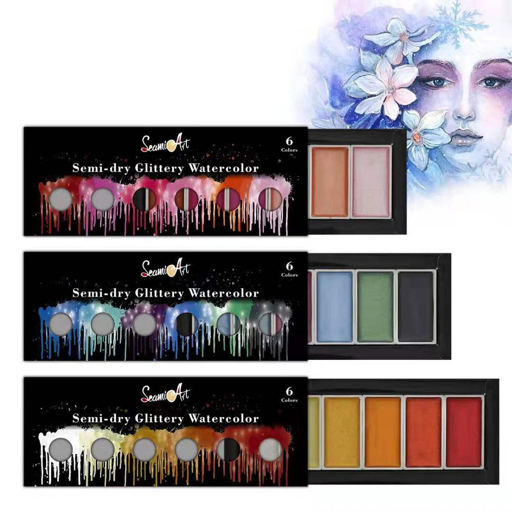 SeamiArt 6 цветов прохладные/теплые/металлические акварельные краски в наборе, Набор цветных красок для рисования художника, блестящая краска, ...